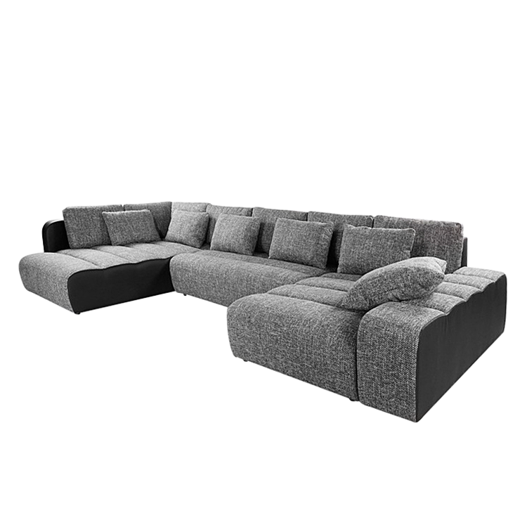 wohnlandschaft ecksofa stoff grau schlafsofa schlafcouch. Black Bedroom Furniture Sets. Home Design Ideas