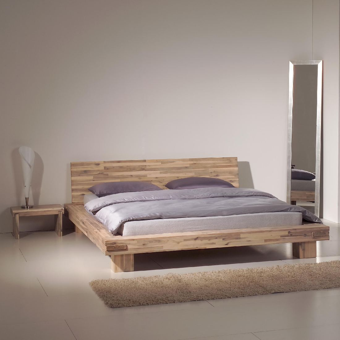holzbett akazie massivholz 160x200 doppelbett futonbett bettgestell bett neu ebay. Black Bedroom Furniture Sets. Home Design Ideas