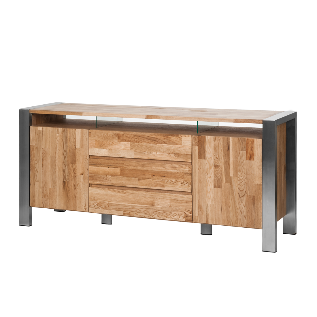 sideboard eiche massivholz edelstahl anrichte esszimmer. Black Bedroom Furniture Sets. Home Design Ideas