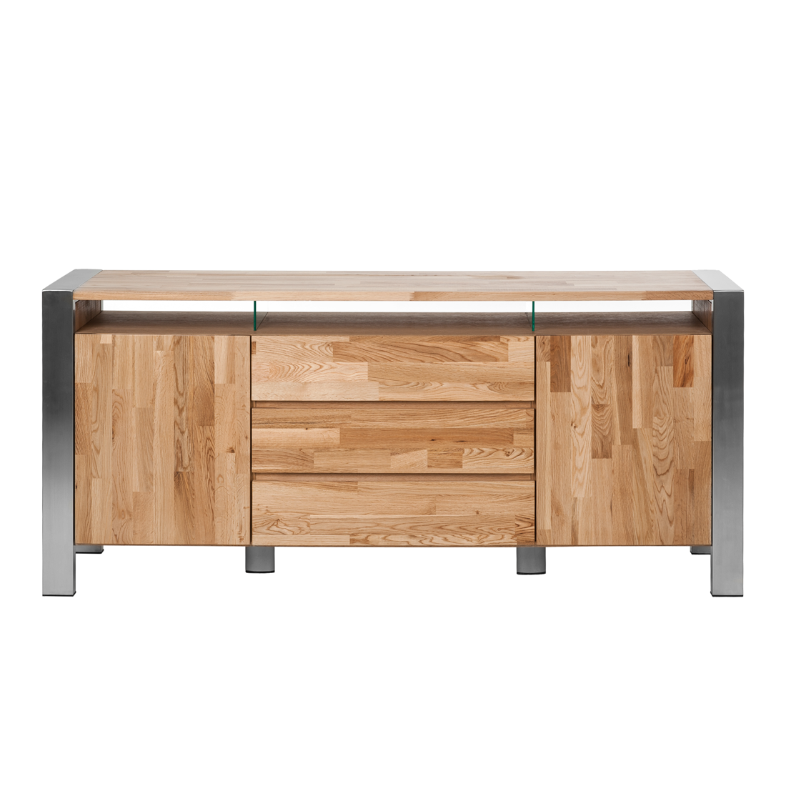 sideboard eiche massivholz edelstahl anrichte esszimmer buffet holz schrank neu ebay. Black Bedroom Furniture Sets. Home Design Ideas