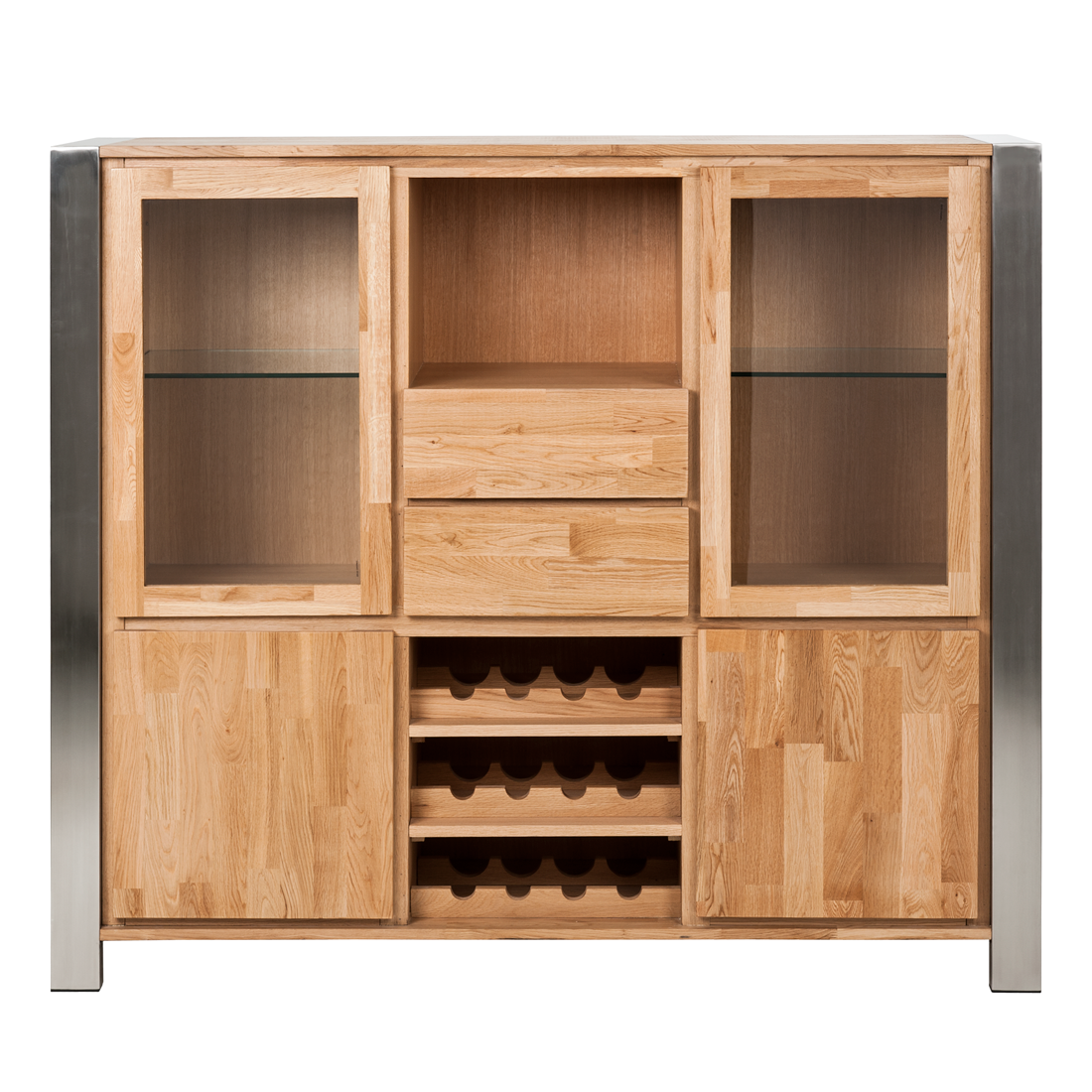 weinbar eiche massivholz edelstahl weinregal weinschrank wein regal schrank neu ebay. Black Bedroom Furniture Sets. Home Design Ideas