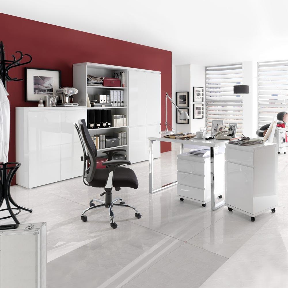 schreibtisch hochglanz wei lackiert b rotisch b rom bel computertisch neu ebay. Black Bedroom Furniture Sets. Home Design Ideas
