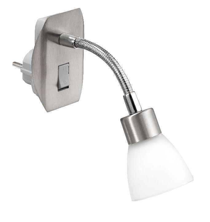 wandleuchte steckdosenleuchte mit schalter stahl/glas wandlampe