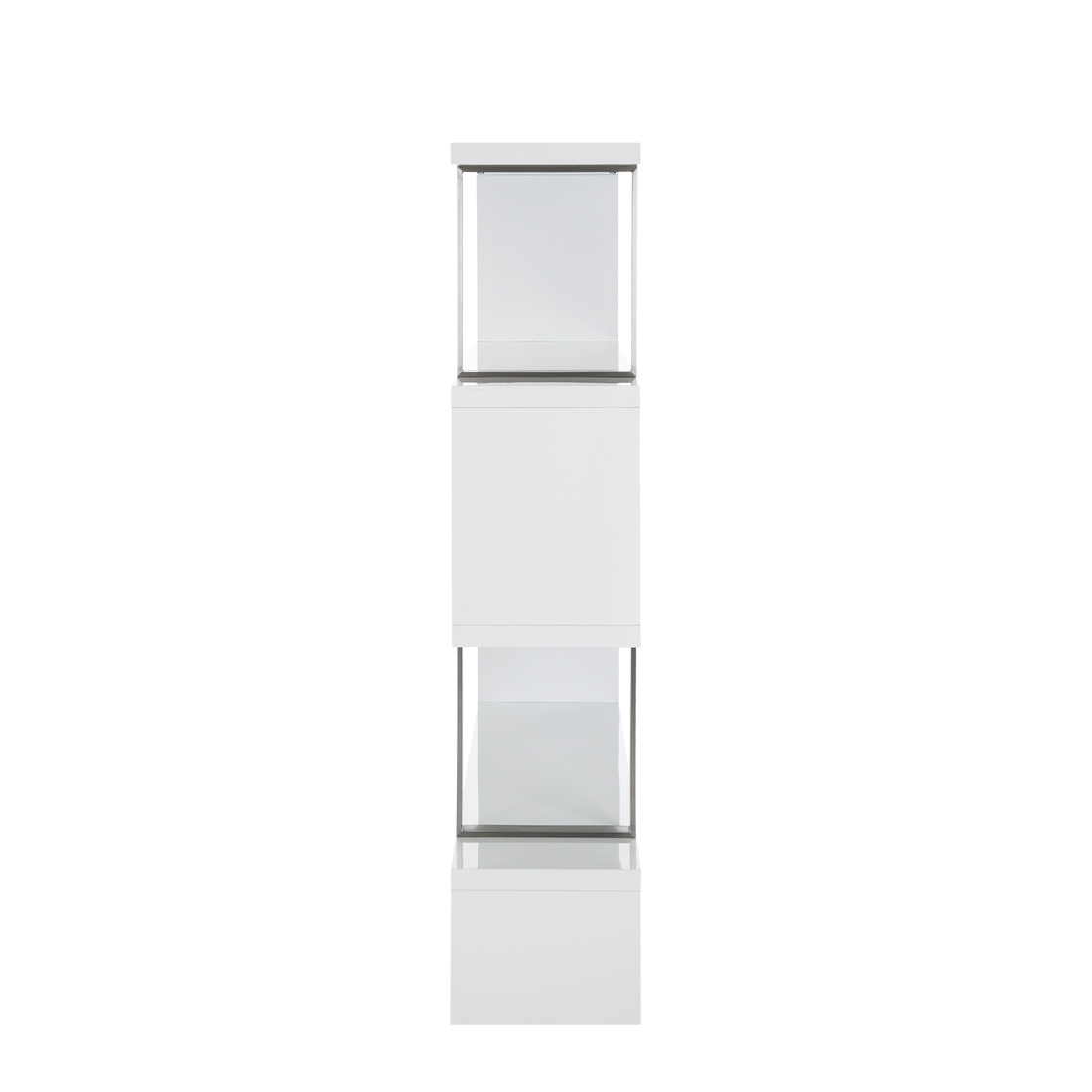 standregal raumteiler wei hochglanz edelstahl b cherregal. Black Bedroom Furniture Sets. Home Design Ideas