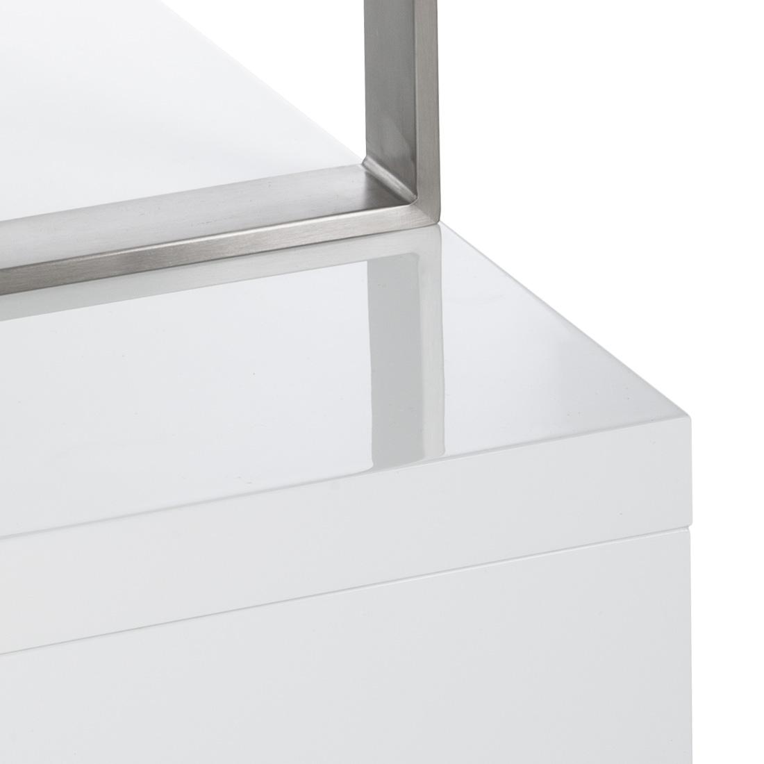 wohnzimmer regal weiß: Raumteiler Weiß Hochglanz Edelstahl Bücherregal Wohnzimmer Regal NEU