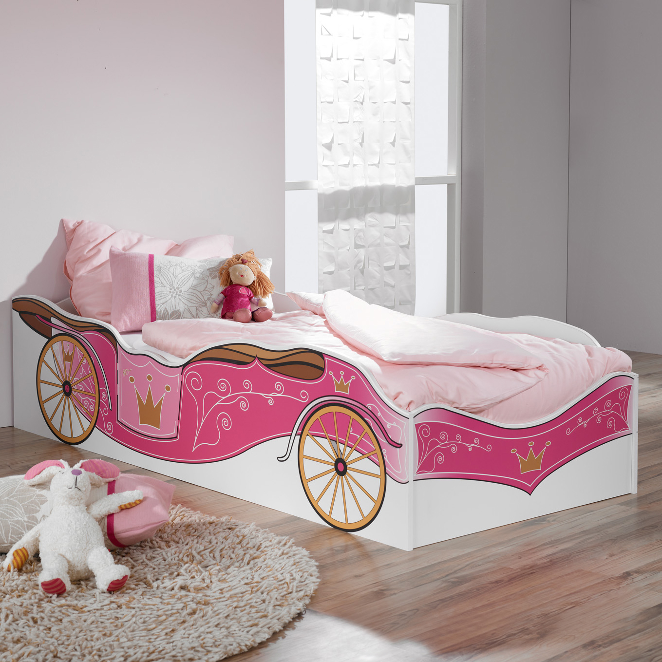 kinderbett prinzessin kutsche rosa jugendbett bett kinderzimmer kinder neu ebay. Black Bedroom Furniture Sets. Home Design Ideas