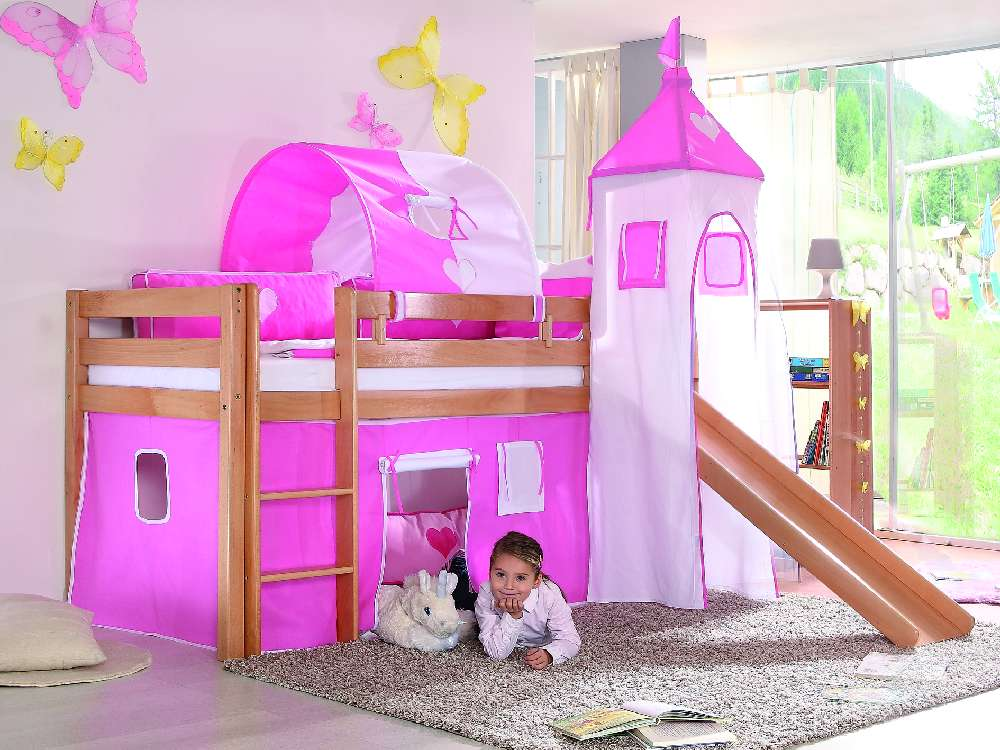 kinderbett spielbett mit rutsche ritterburg aus buche massivholz hochbett neu. Black Bedroom Furniture Sets. Home Design Ideas