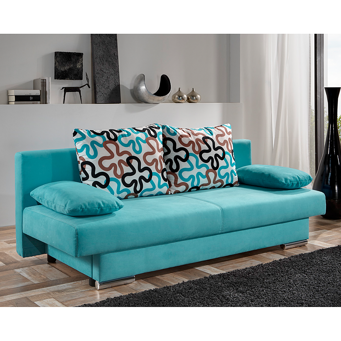 schlafsofa bettkasten stoff t rkis schlafcouch sofa couch einzelsofa bett neu ebay. Black Bedroom Furniture Sets. Home Design Ideas