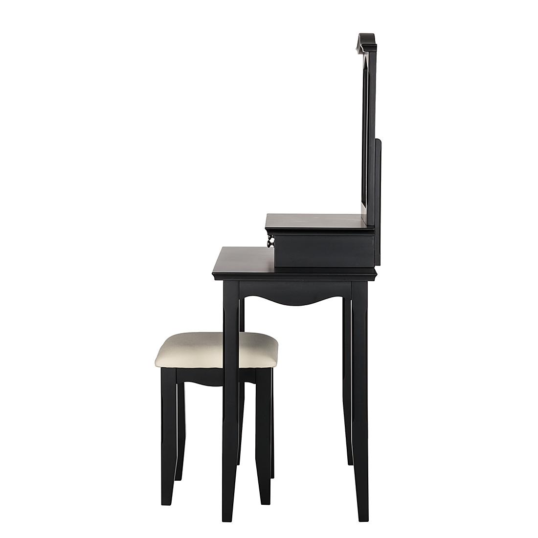 schminktisch inkl hocker akazie schwarz frisiertisch. Black Bedroom Furniture Sets. Home Design Ideas