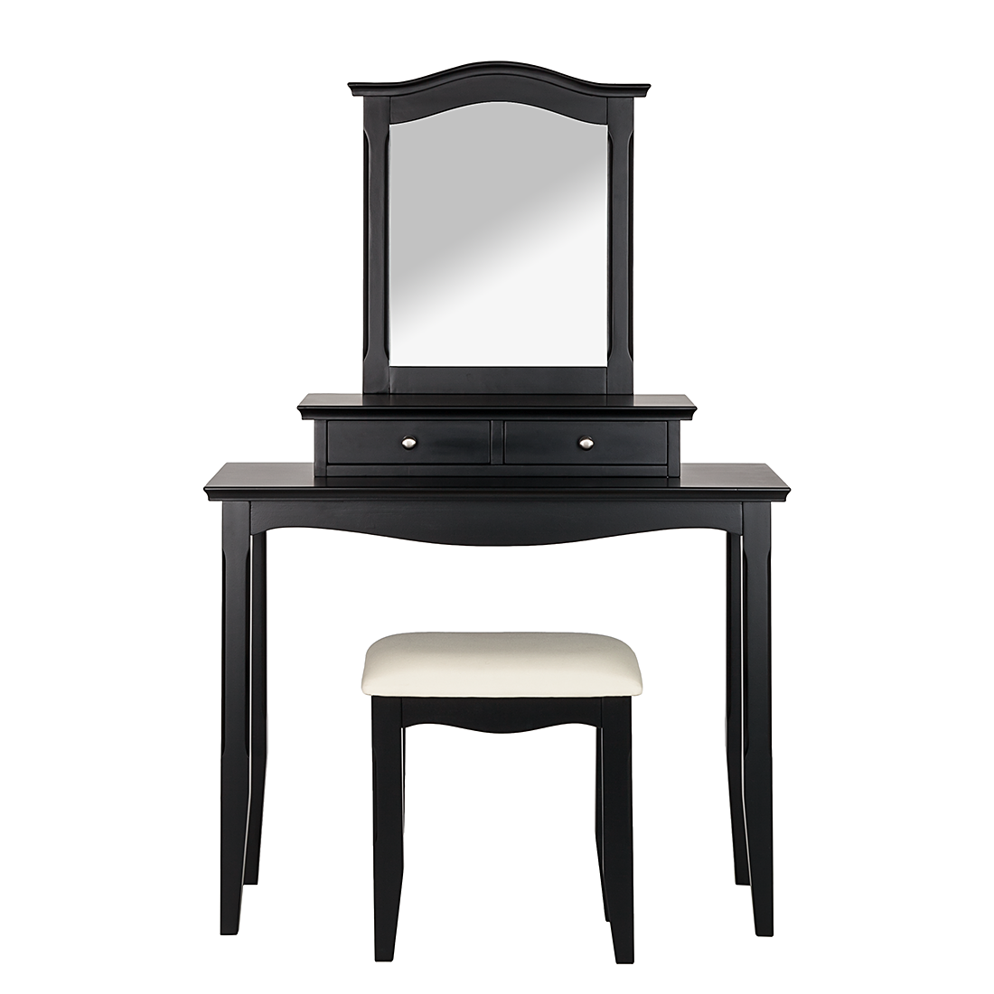 schminktisch inkl hocker akazie schwarz frisiertisch. Black Bedroom Furniture Sets. Home Design Ideas