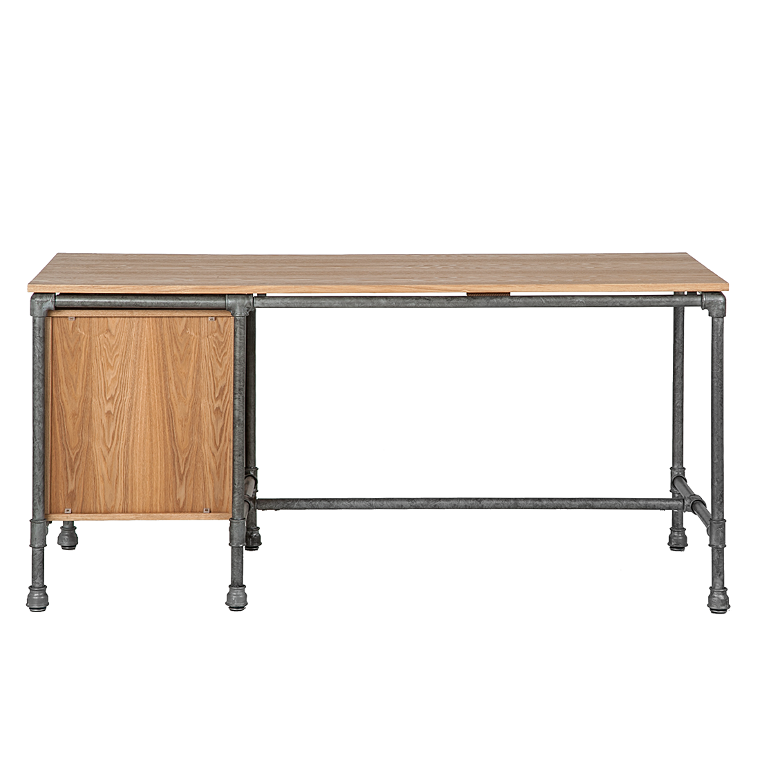 schreibtisch container eiche holz stahl antik computertisch b ro tisch neu. Black Bedroom Furniture Sets. Home Design Ideas