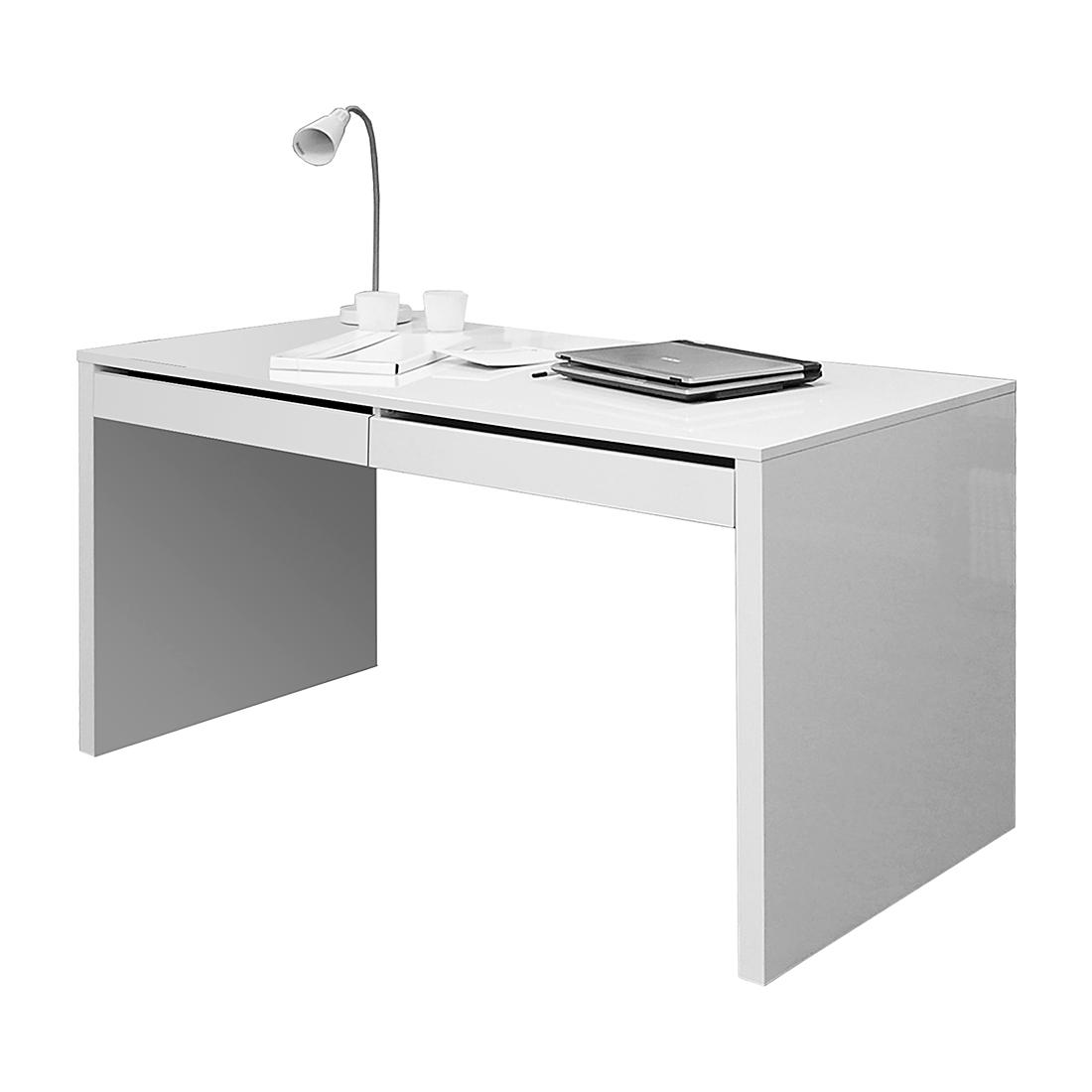 Schreibtisch weiß mit schubladen  Schreibtisch Arbeitstisch 2 Schubladen Weiß Hochglanz 150x70 Büro ...