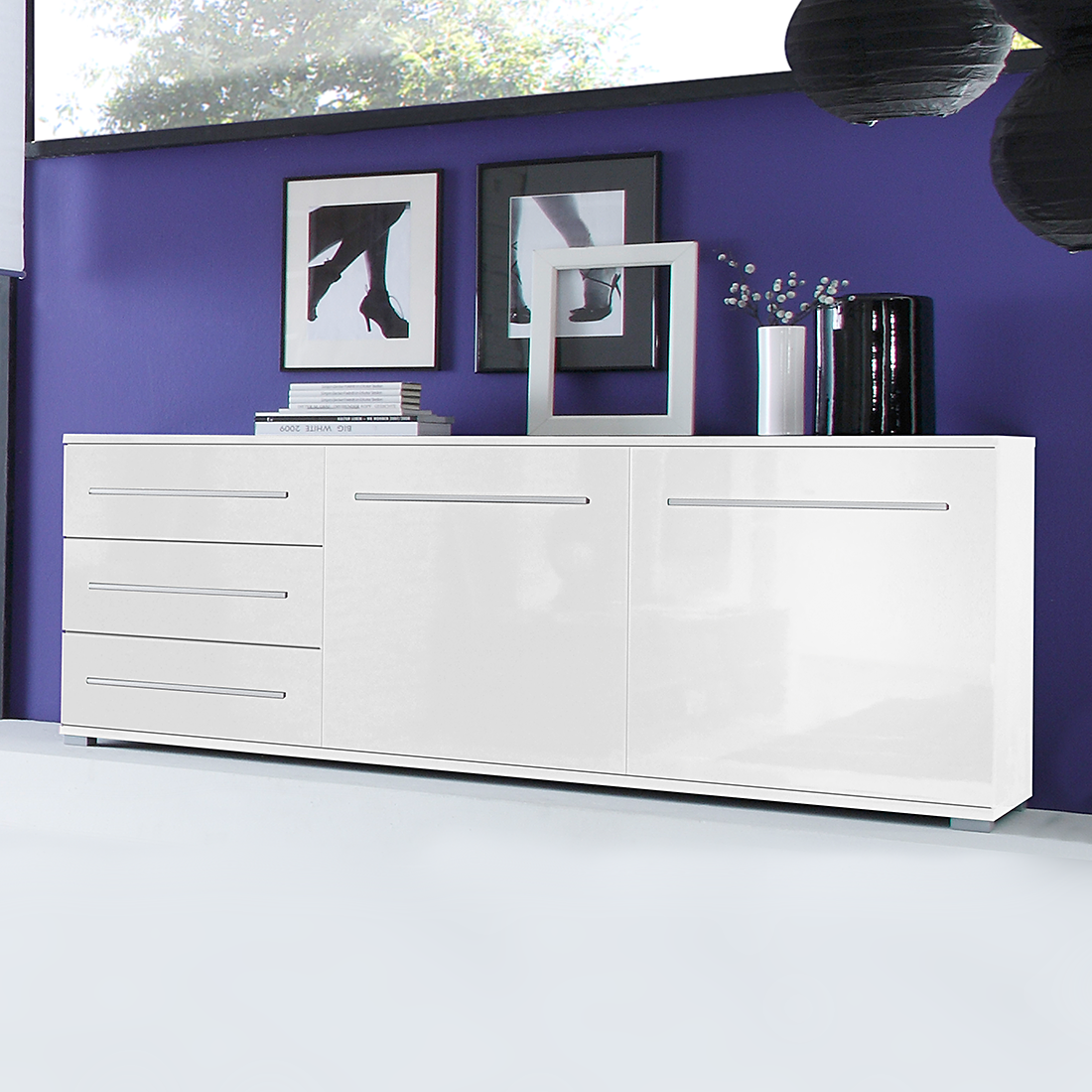 sideboard wei hochglanz kommode anrichte wohnzimmer esszimmer schrank neu ebay. Black Bedroom Furniture Sets. Home Design Ideas