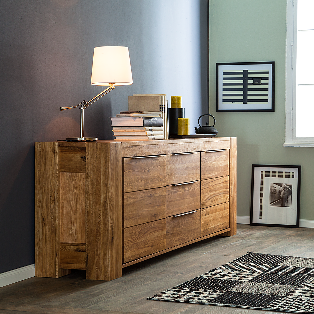 sideboard eiche massivholz 3 schubladen 2 t ren kommode. Black Bedroom Furniture Sets. Home Design Ideas