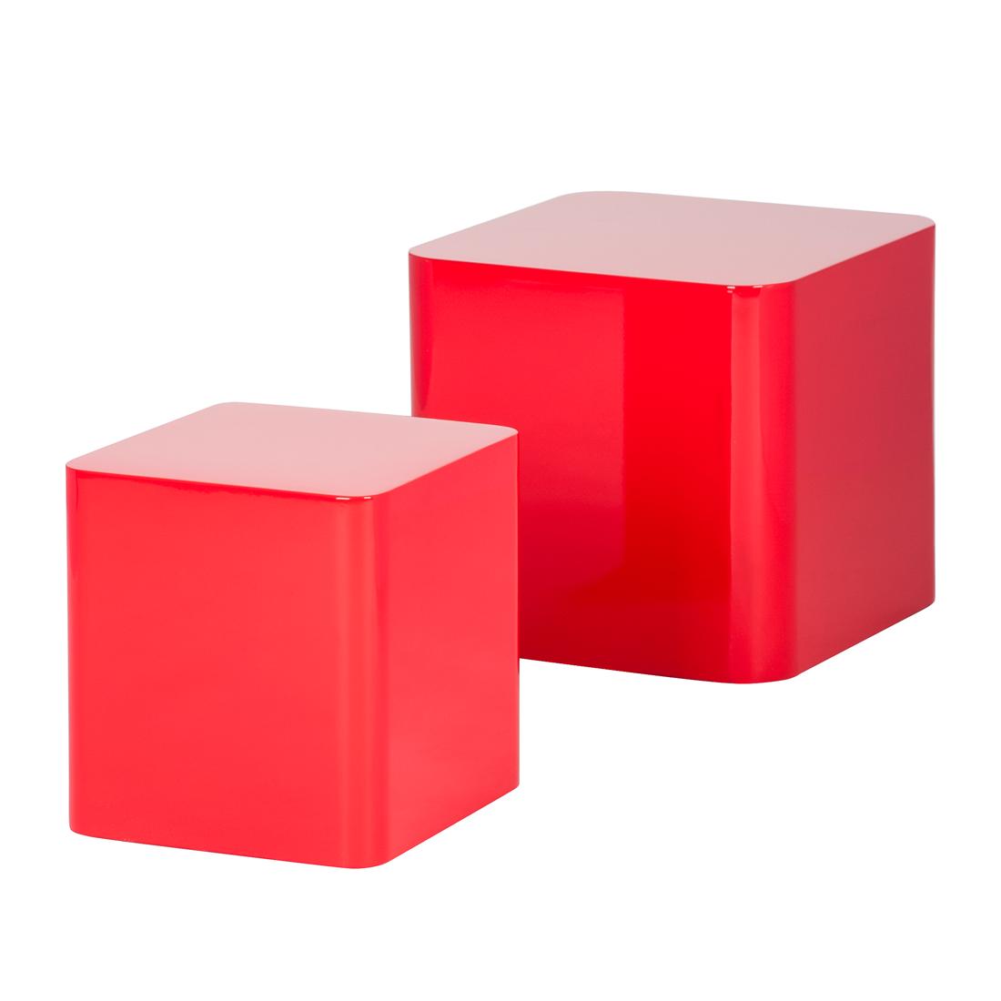2er set beistelltisch rot hochglanz couchtisch wohnzimmer. Black Bedroom Furniture Sets. Home Design Ideas