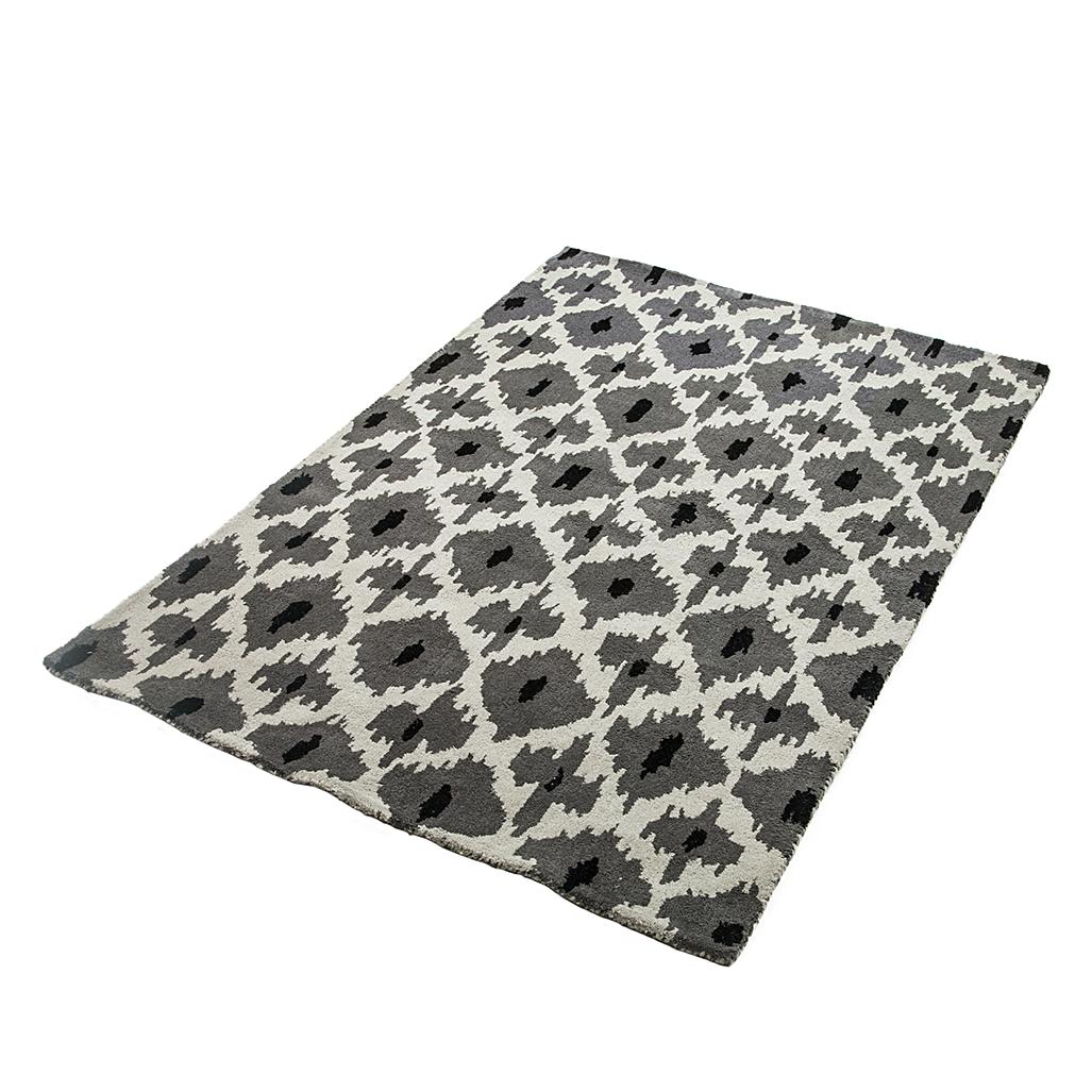 teppich schwarz wei grau wolle 3 gr en wohnzimmer vorleger l ufer flor neu ebay. Black Bedroom Furniture Sets. Home Design Ideas