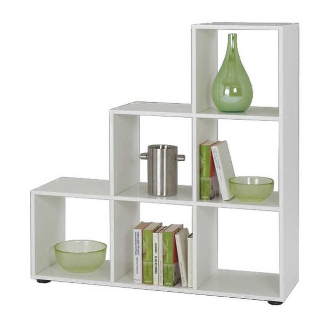 b cherregal treppe 6 f cher wei raumteiler standregal. Black Bedroom Furniture Sets. Home Design Ideas