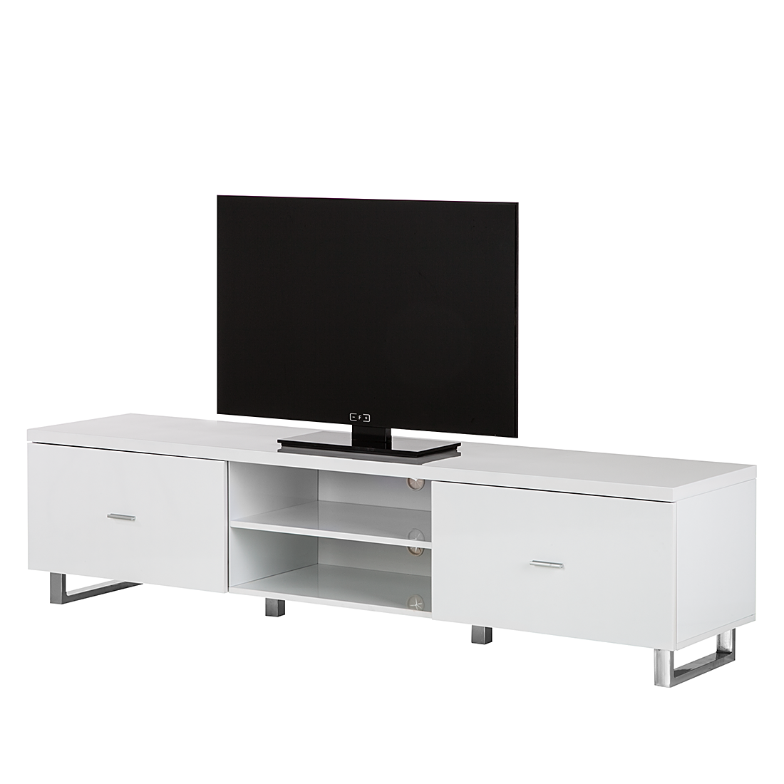 tv rack lowboard 2 schubladen glas wei chrom tv hifi rack regal fernsehtisch ebay. Black Bedroom Furniture Sets. Home Design Ideas