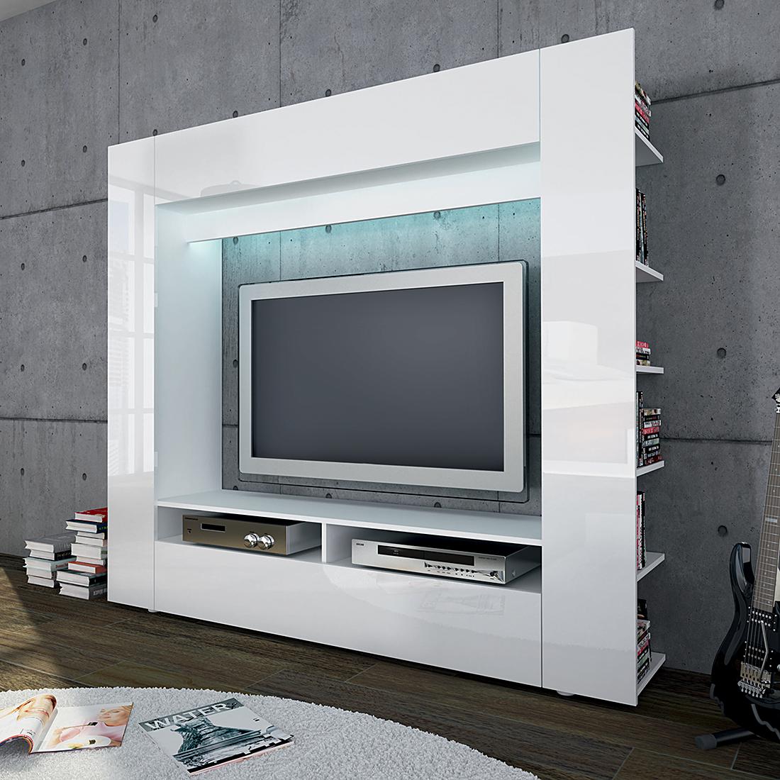 Wohnwand TV-Kommode Lowboard Sideboard Board Regal Weiß Hochglanz ...