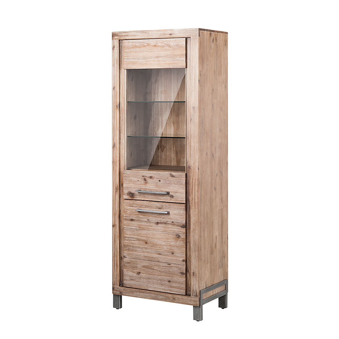 vitrine schrank massivholz akazie grau kommode highboard. Black Bedroom Furniture Sets. Home Design Ideas