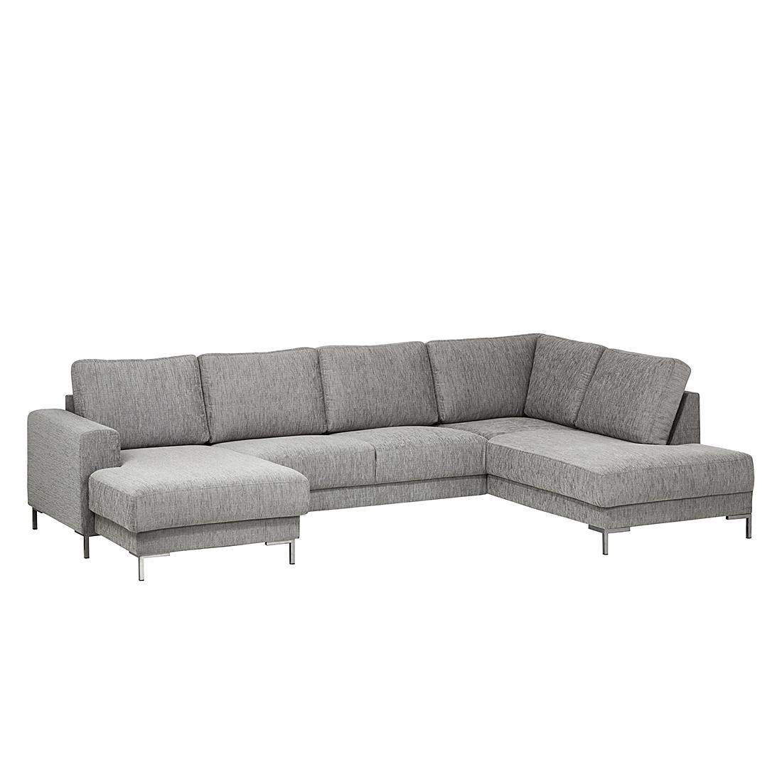 Wohnlandschaft ecksofa stoff grau sofa couch eckcouch for Sofa hellgrau