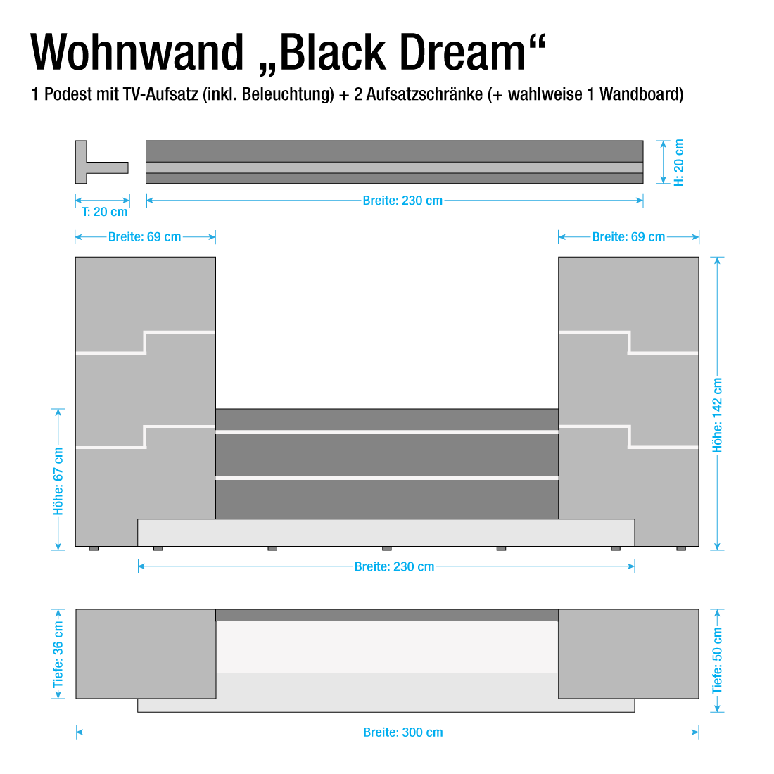 wohnwand schwarz wei hochglanz schrankwand tv lowboard. Black Bedroom Furniture Sets. Home Design Ideas