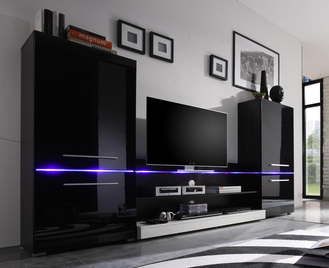 Wohnwand modern  Wohnwand Modern Schwarz Matt ~ Kreative Ideen für Ihr Zuhause-Design