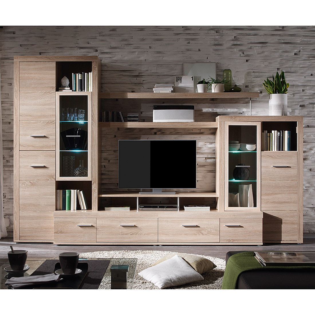 wohnwand holzoptik g nstig. Black Bedroom Furniture Sets. Home Design Ideas