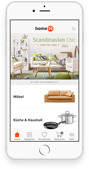 die home24 app entspannt unterwegs einrichten home24. Black Bedroom Furniture Sets. Home Design Ideas