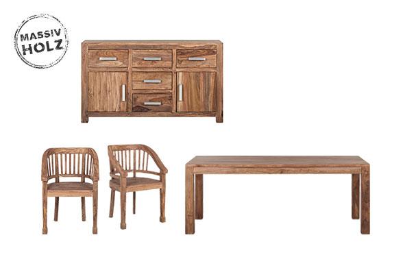 Esszimmertische und Esszimmerstühle aus Massivholz