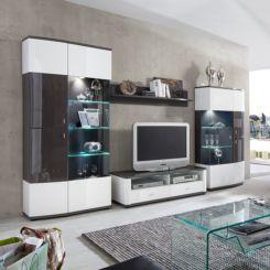 Wohnwand weiß grau hochglanz  Hochglanz Wohnwände | Modernität fürs Wohnzimmer | Home24