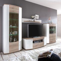 Wohnwand weiß hochglanz mit holz  Hochglanz Wohnwände | Modernität fürs Wohnzimmer | Home24