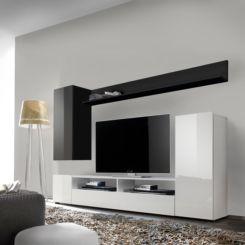 Wohnwand weiß schwarz hochglanz  Hochglanz Wohnwände | Modernität fürs Wohnzimmer | Home24