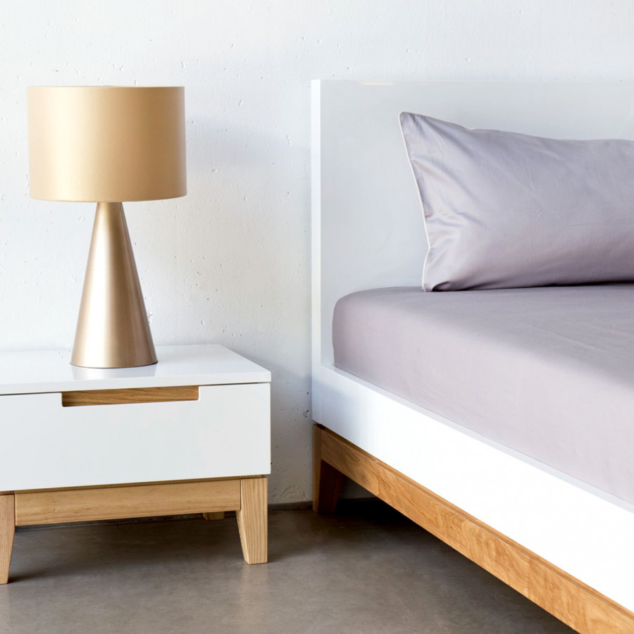 bett dahlia - hochglanz weiß / eiche - fashion for home, Hause deko