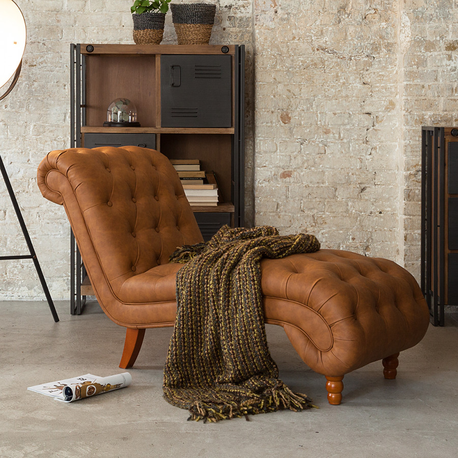 Chaiselongue landhaus  Chaiselongue Boheme - Lederlook Cognac | Home24