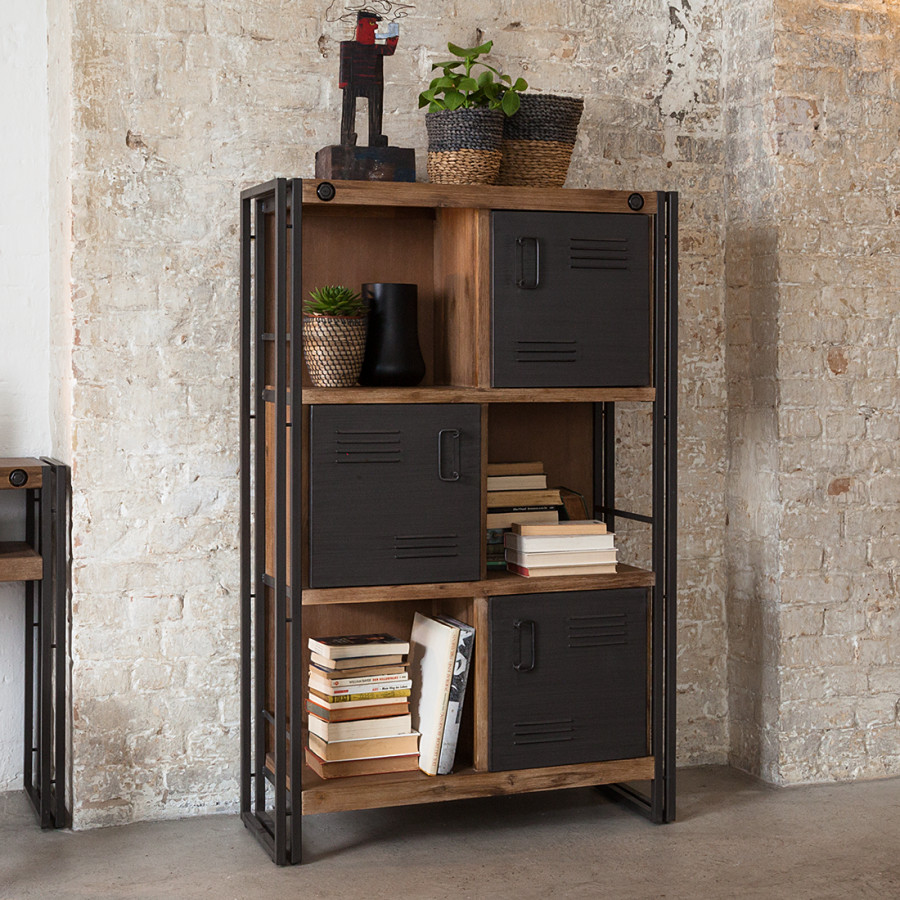 Kast hout staal undefined undefined fotous industrile for Kast voor woonkamer