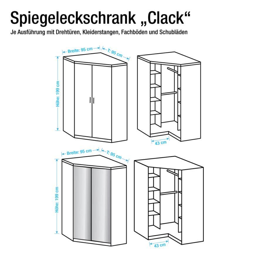 eckschrank click (mit spiegel) - eiche sägerau dekor | home24
