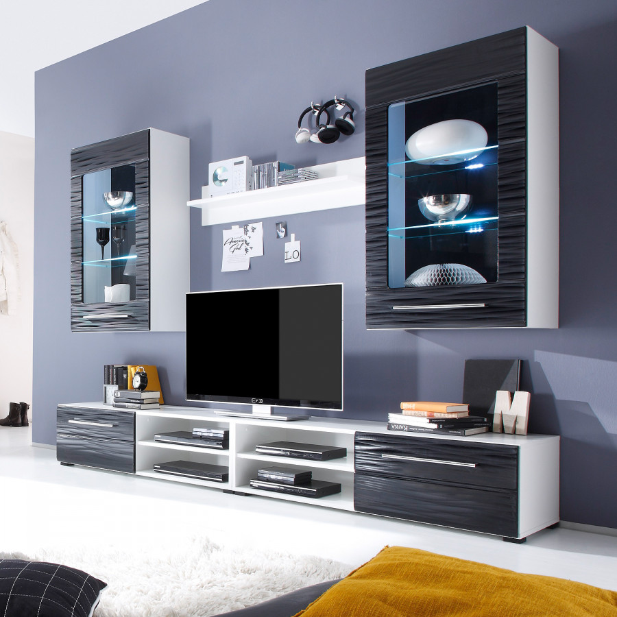 wohnwand modern schwarz. Black Bedroom Furniture Sets. Home Design Ideas