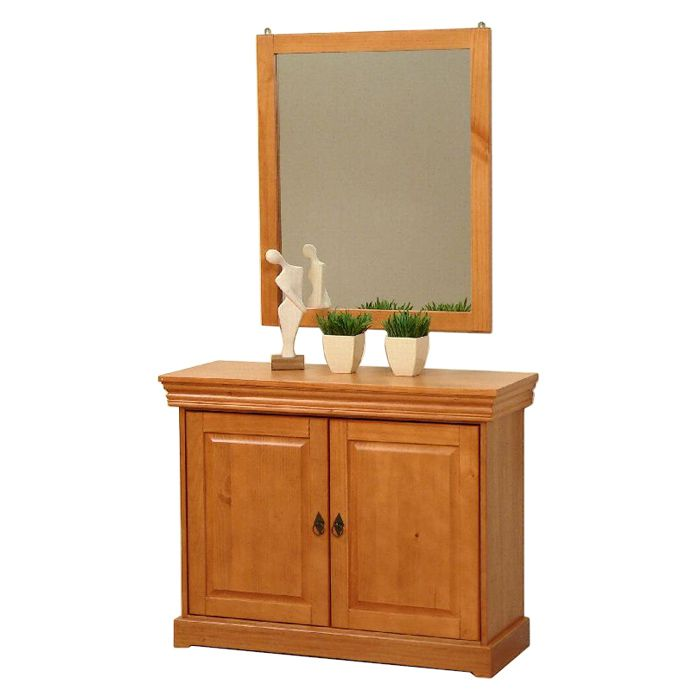 Cassettiera/Specchio da parete Zobi - Legno di pino Color miele, Alpenblick