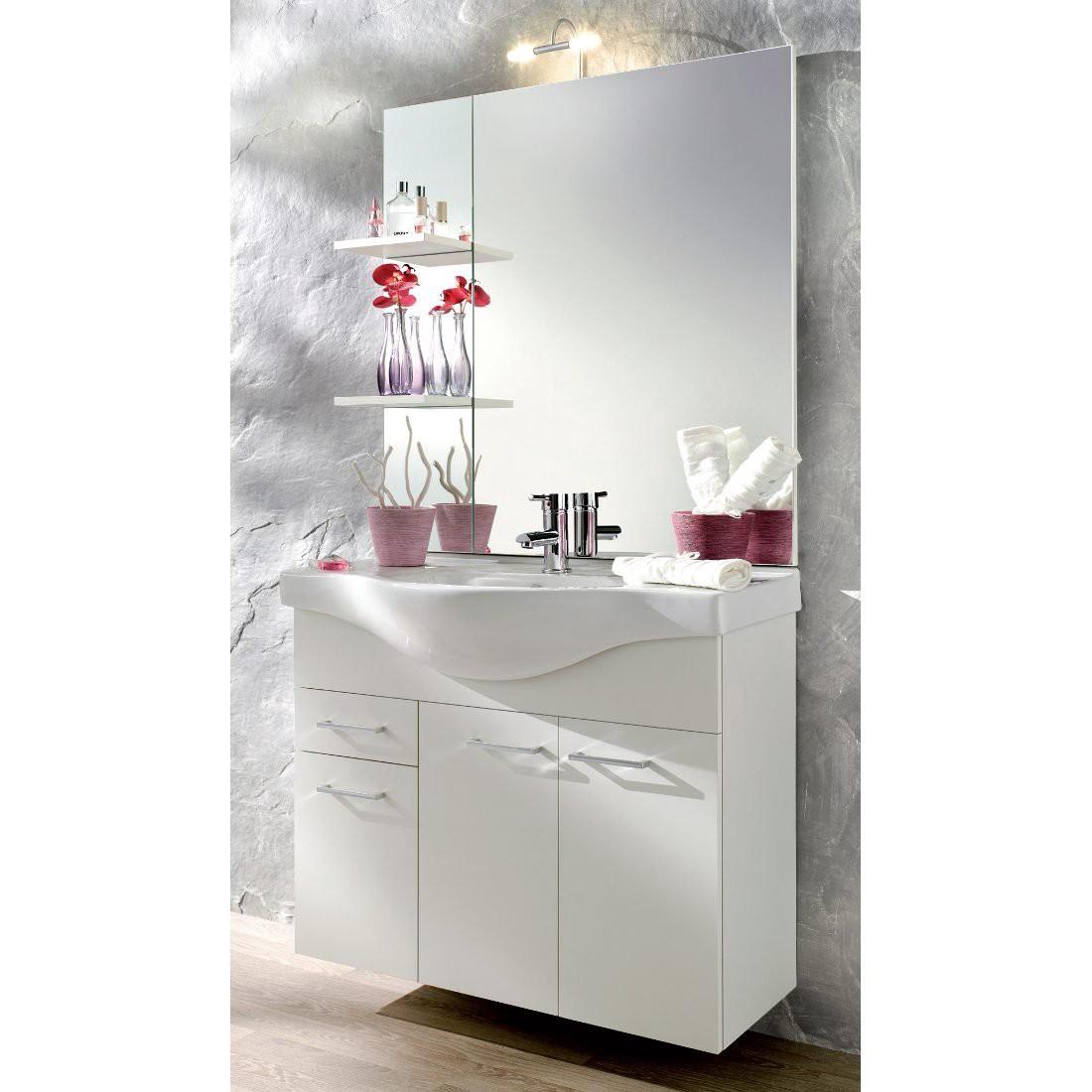 Wastafelkast Auro - gesloten kast - spiegel keramiek wit - zonder verlichting, Posseik