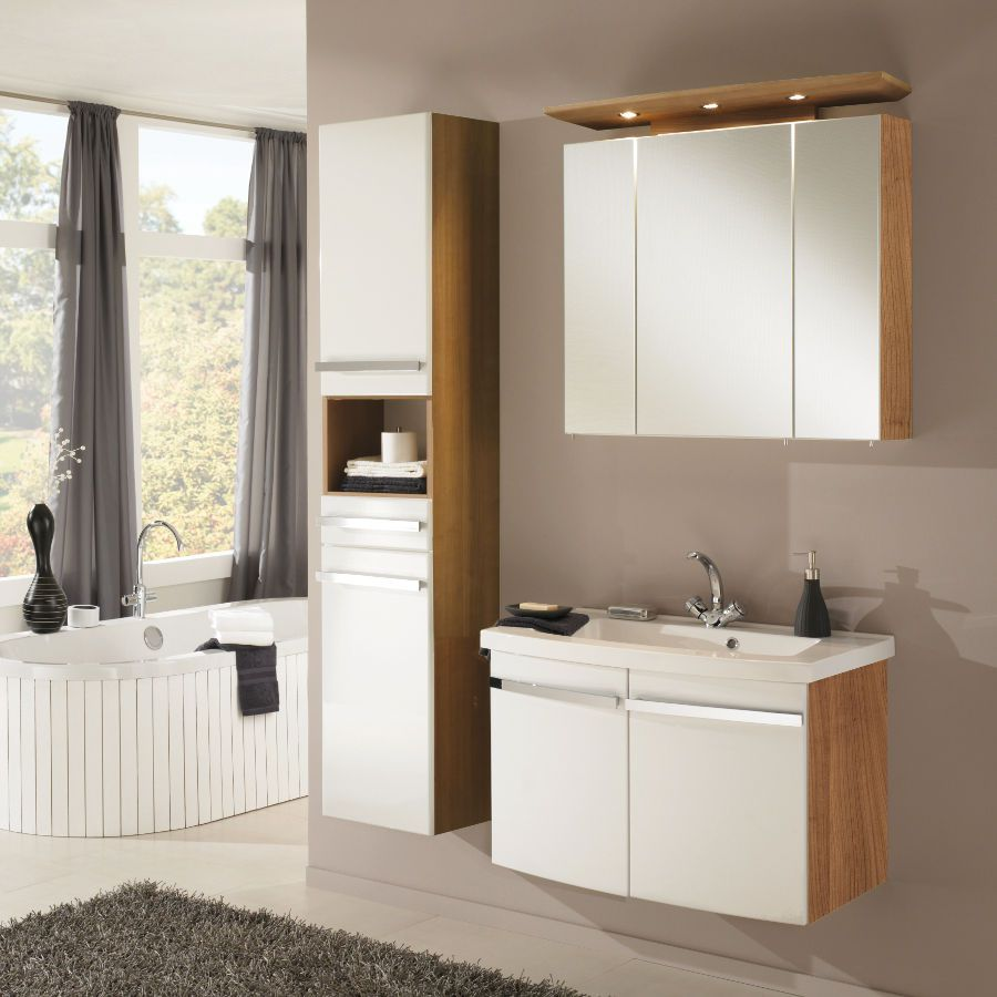 Home 24 - Meubles lavabo bina - noce/blanc (3 éléments), aqua suite