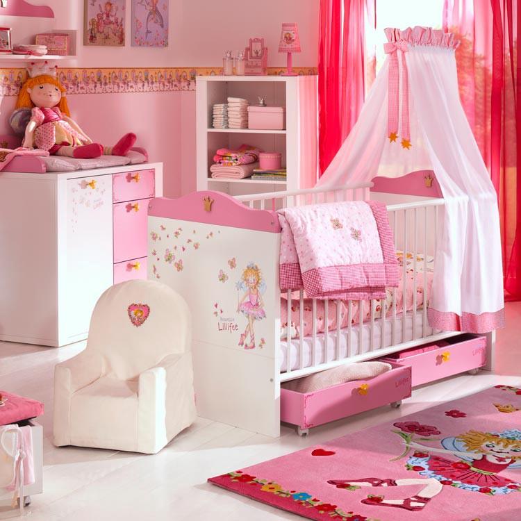 Home 24 - Set économique de chambre d enfant princesse lillifee (2 éléments) - lit à barreaux et table à langer rose et blanche, arte m
