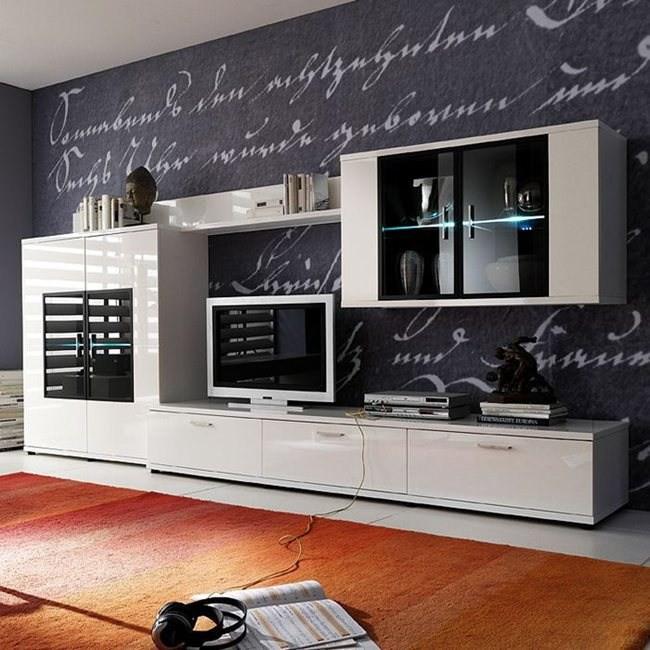 EEK A+, Ensemble de meubles TV Corana III (4 éléments) - Blanc brillant - Avec éclairage, loftscape
