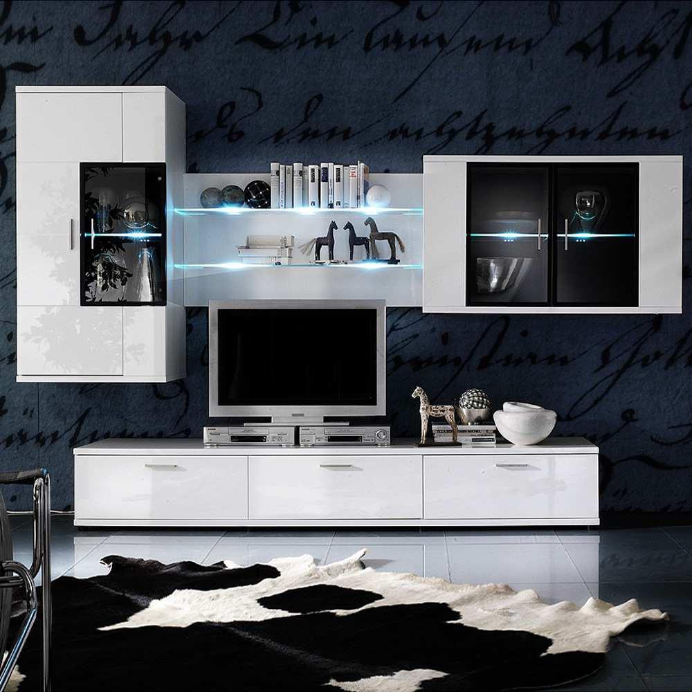 EEK A+, Ensemble de meubles TV Corana volts (4 éléments) - Blanc brillant - Avec éclairage, loftscap