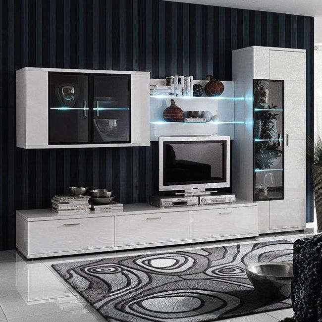 EEK A+, Ensemble de meubles TV Corana II (4 éléments) - Blanc brillant - Avec éclairage, loftscape