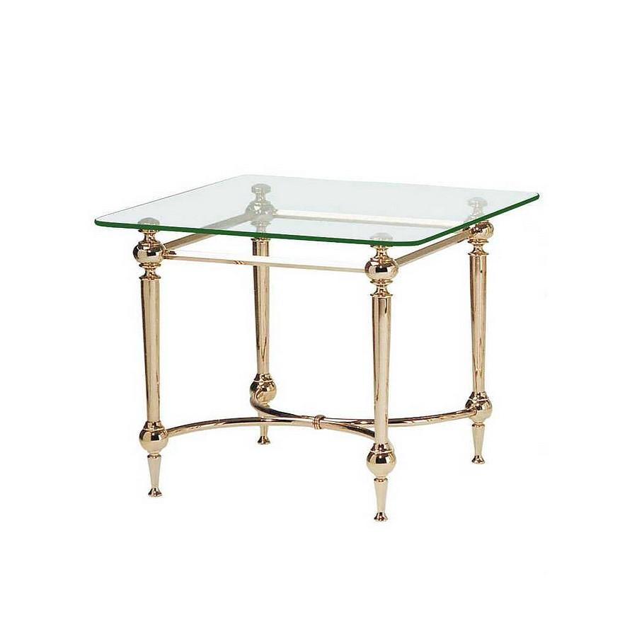 Table d'appoint Bianka III - Acier contreplaqué or / Verre avec bord à facettes, Home Design