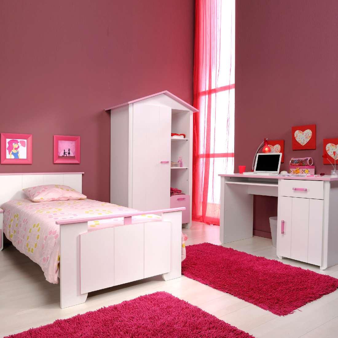 Ensemble de chambre d'adolescent Biotiful (4 éléments) - Armoire à vêtements, lit, table nuit et bu