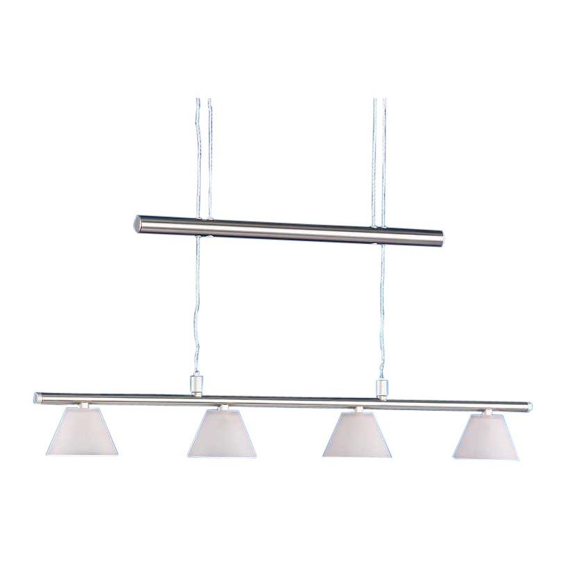 energie  B, Hanglamp Boston - 4 lichtbronnen - wit glas - mat nikkel, Action