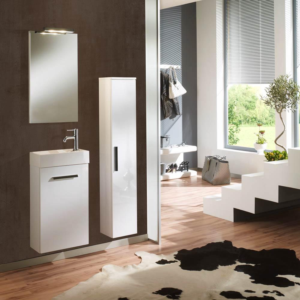 Home 24 - Ensemble de salle de bain calgary (3 éléments) - blanc brillant - butoirs de portes à droite, aqua suite
