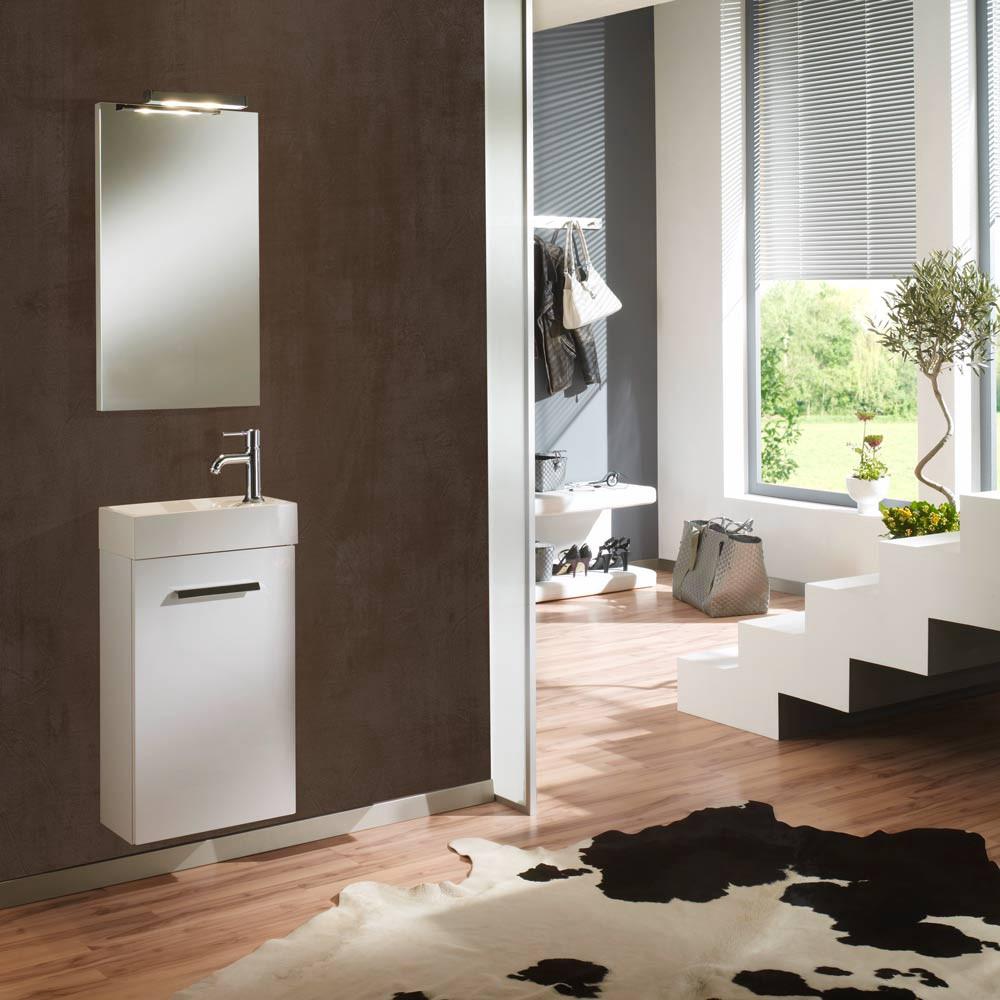Home 24 - Eek a+, meuble lavabo calgary - avec miroir - blanc brillant - butoir de porte à droite, aqua suite